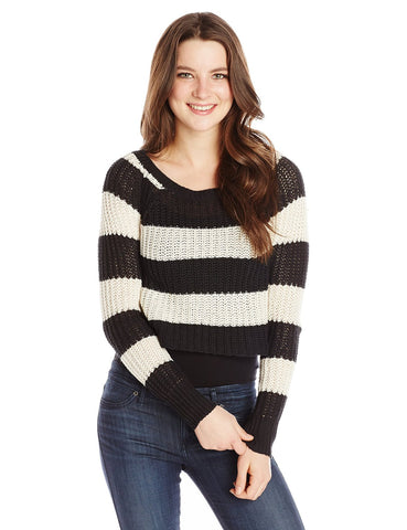 Billabong Juniors Cosmic Skies Stripe Sweater-Off Black