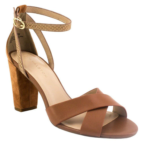 H by Halston Kaely Heeled Shoes With Ankle Strap-Cognac