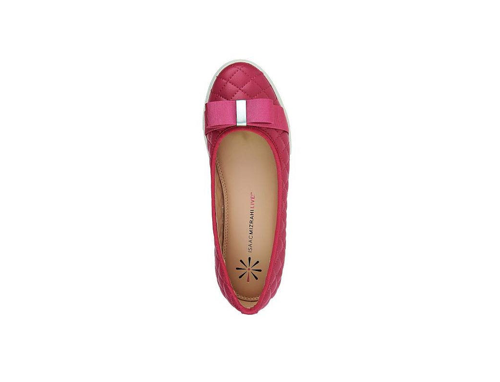 Isaac Mizrahi Live! Women's Kaitlyn Quilted Leather Flats-Pink