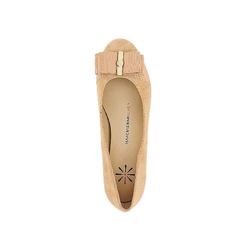 Isaac Mizrahi Live! Women's Karla2 Suede Pumps With Bow Detail-Light Natural