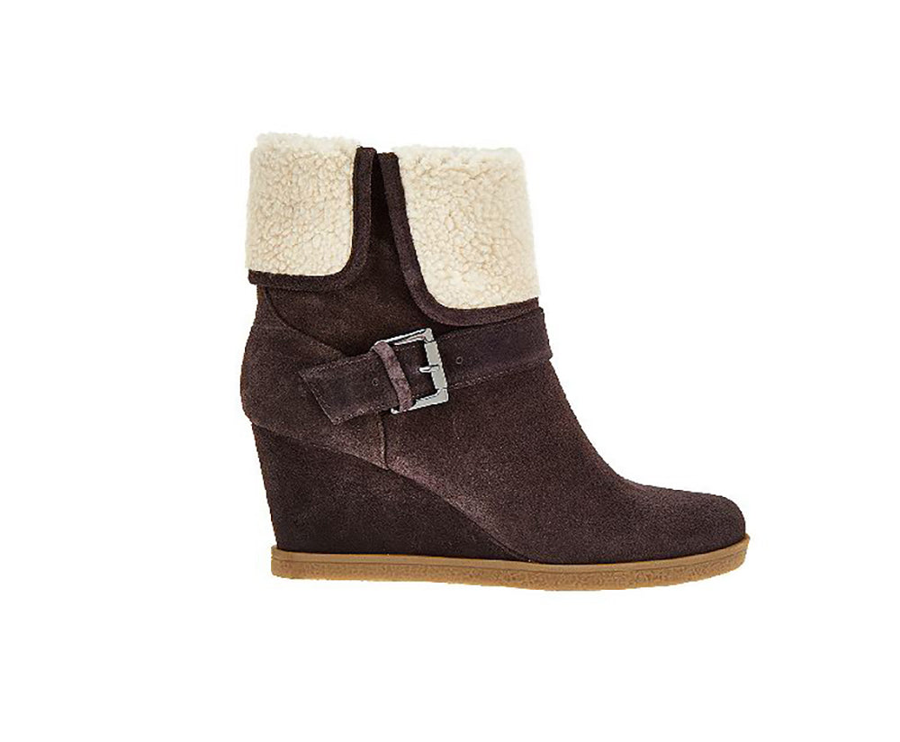 Isaac Mizrahi Live! Women's Suede Ankle Boots With Faux Sherpa-Dark Brown