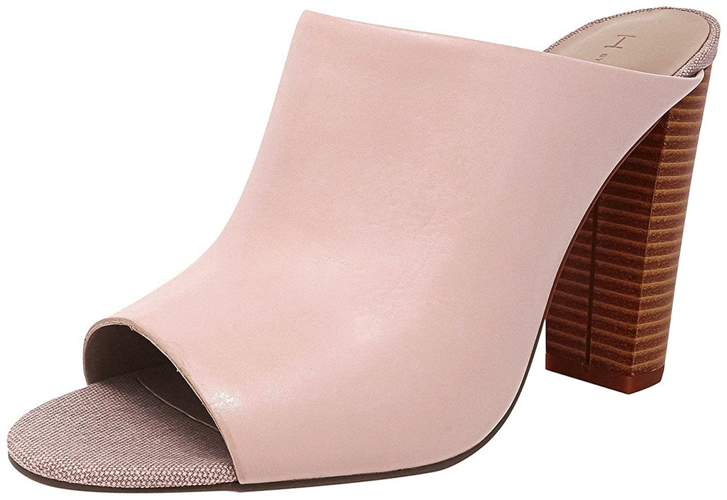 H by Halston Kendra Open Toe Leather Mules With Stacked Heel-Pale Pink