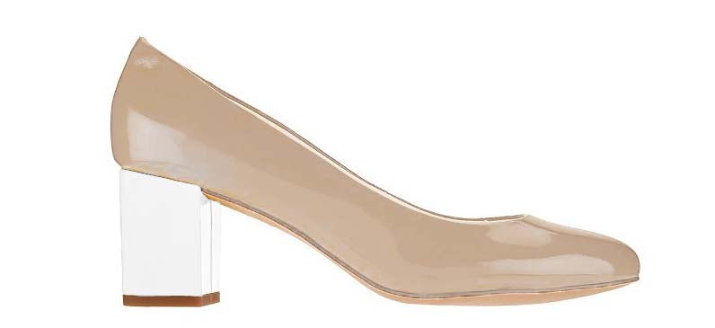 Isaac Mizrahi Live! Women's Patent Leather Pumps W/ Contrast Heel-Camel/White
