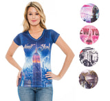 True Rock Jr Women's Liberty New York Bling V-Neck T-Shirt