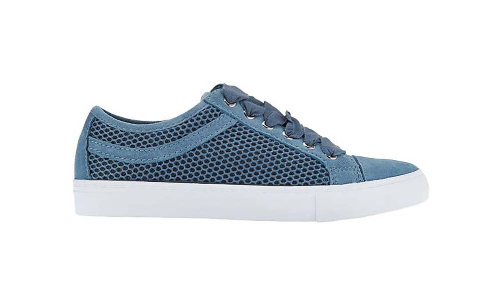 Isaac Mizrahi Live! Lizard Lace-Up Sneakers With Mesh Detail-Storm Blue