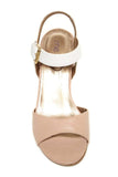 Me Too Open Toe Leather Wedges With Ankle Strap-Nude/White