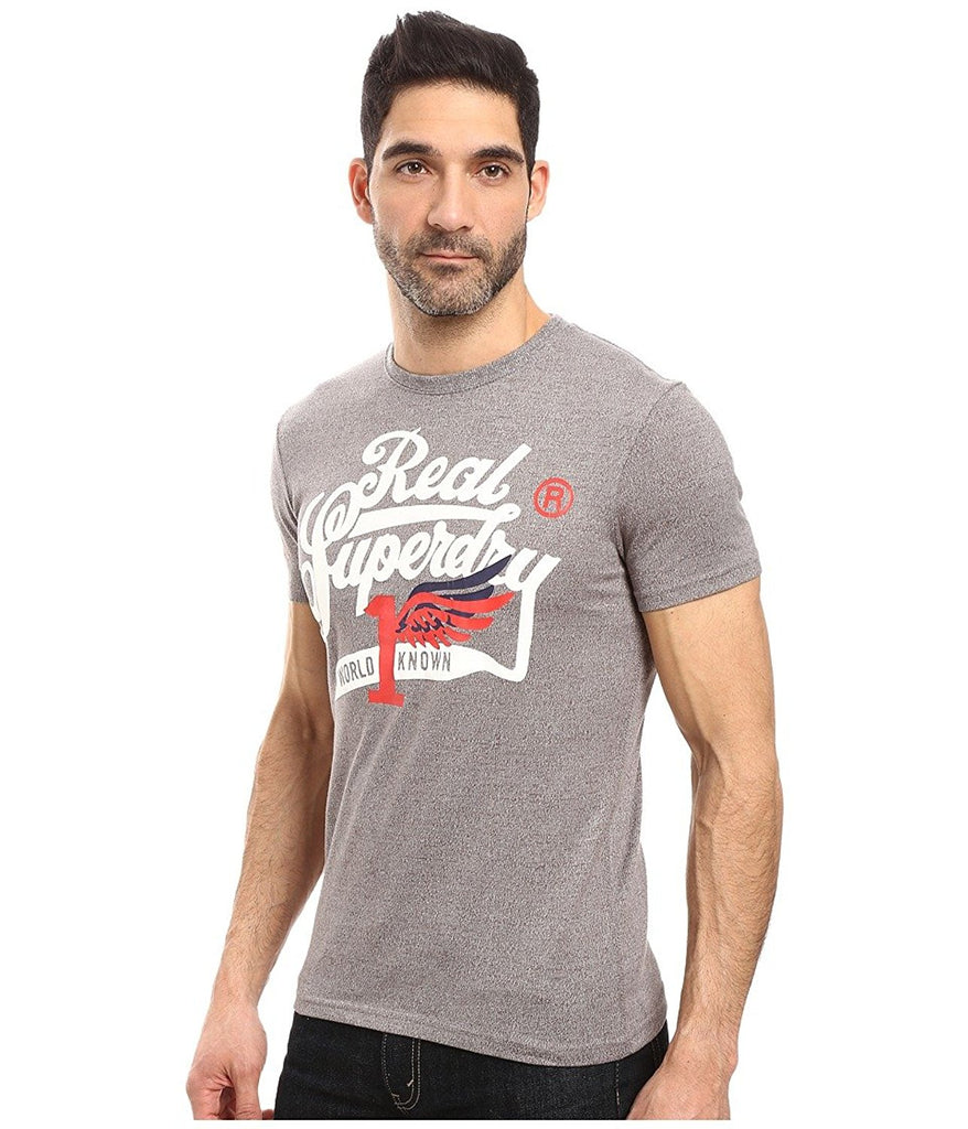 Superdry Men's Double Drop Grit T-Shirt-DarkMarlGrit