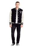 True Religion Men's Supercross Varsity Letterman Jacket-Black/Birch