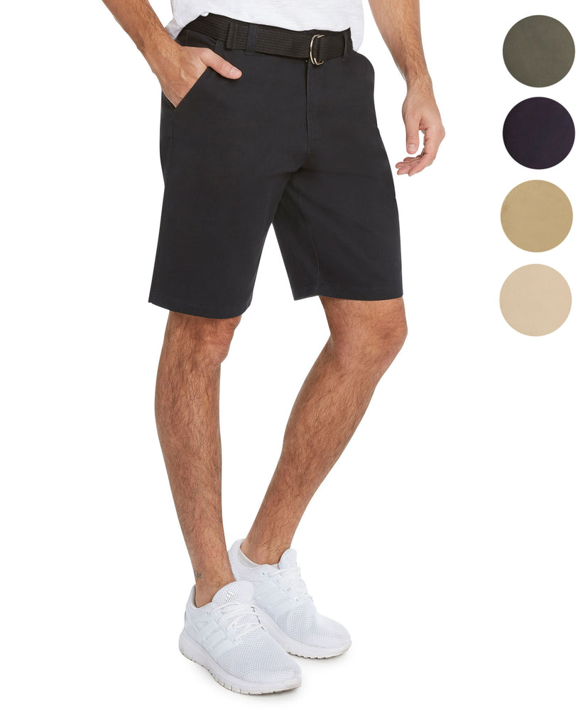 Men's Flat Front modern fit Twill Chino Belted Shorts - 9 Crowns Essentials