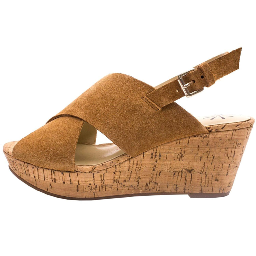 Isaac Mizrahi Live! Women's Maddie Suede Cross Band Wedges