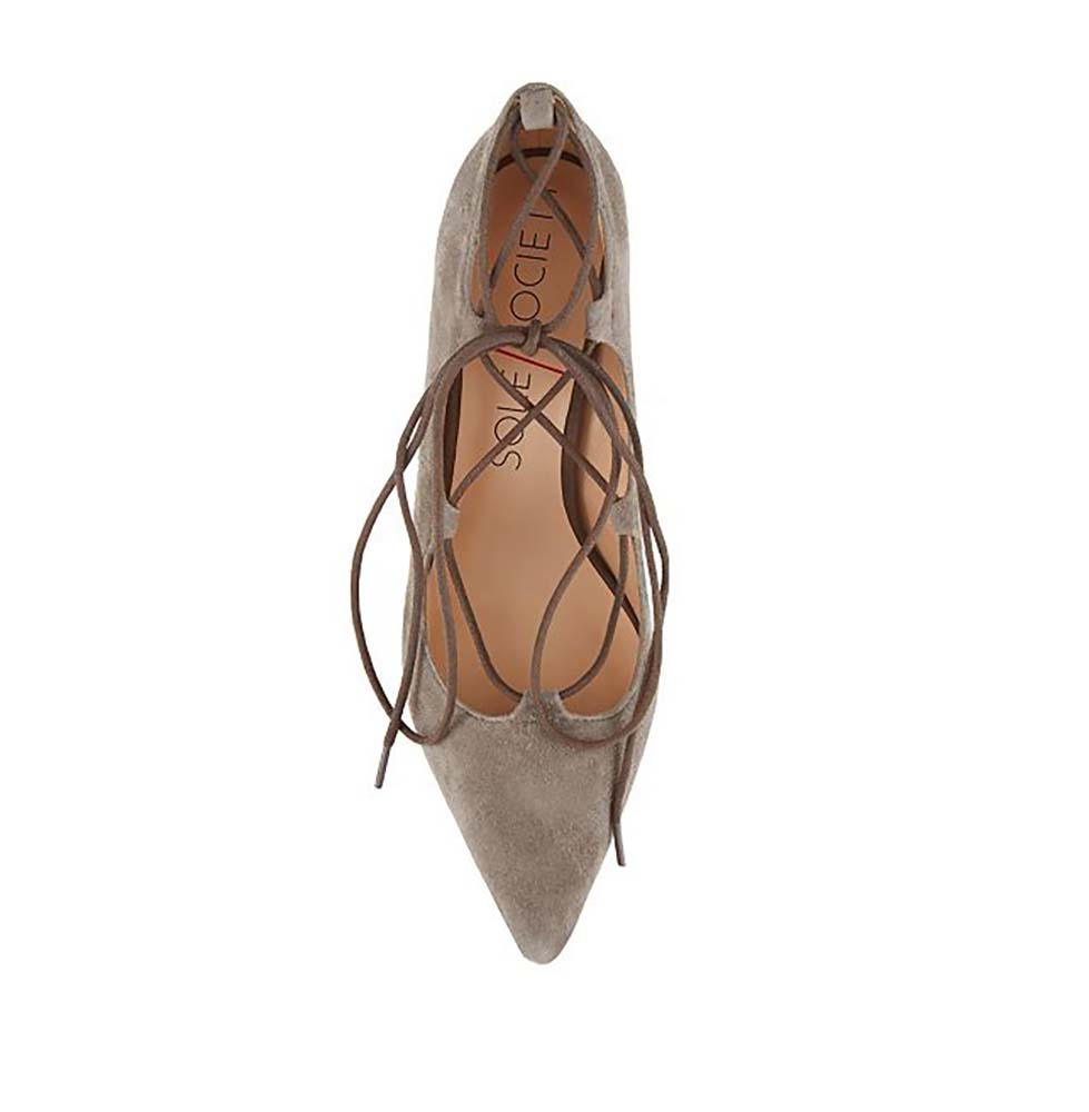 Sole Society Women's Suede Pointed Toe Lace-Up Pumps-Mushroom