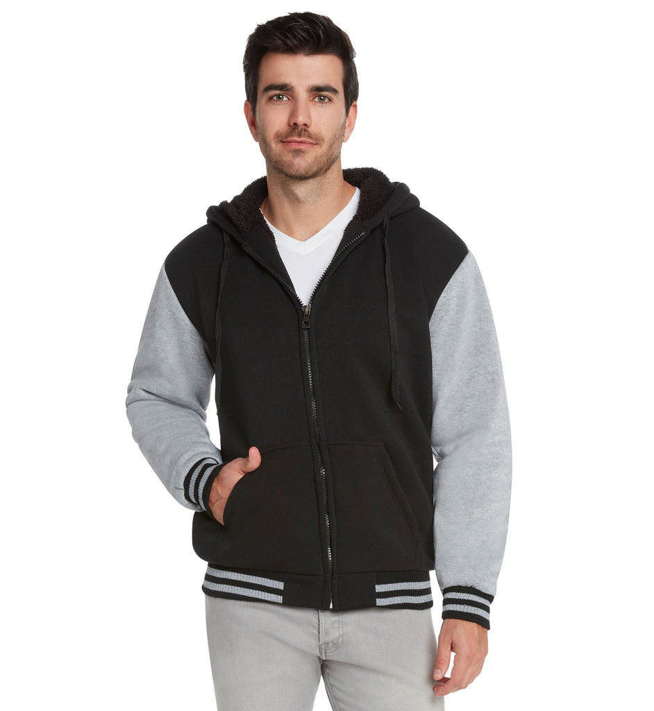 Maximos Men's Sherpa Lined Varsity Full Zip Hooded Jacket