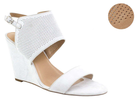 H by Halston Women's McKenzie High Wedge Suede Sandals