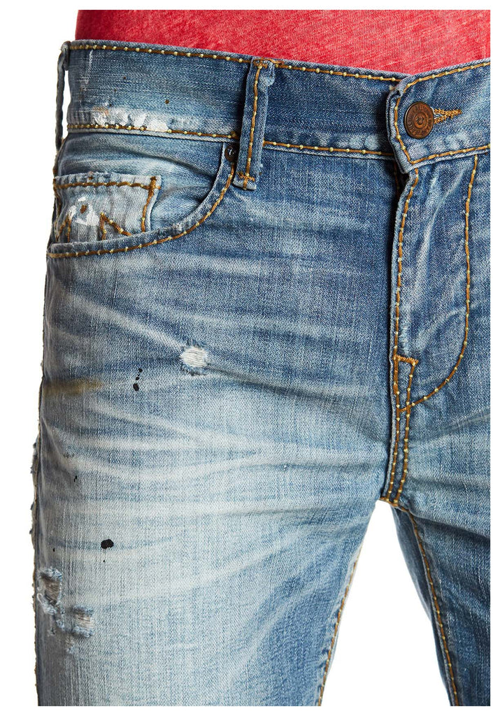 True Religion Men's Rocco Cable Stitch Relaxed Skinny Jeans