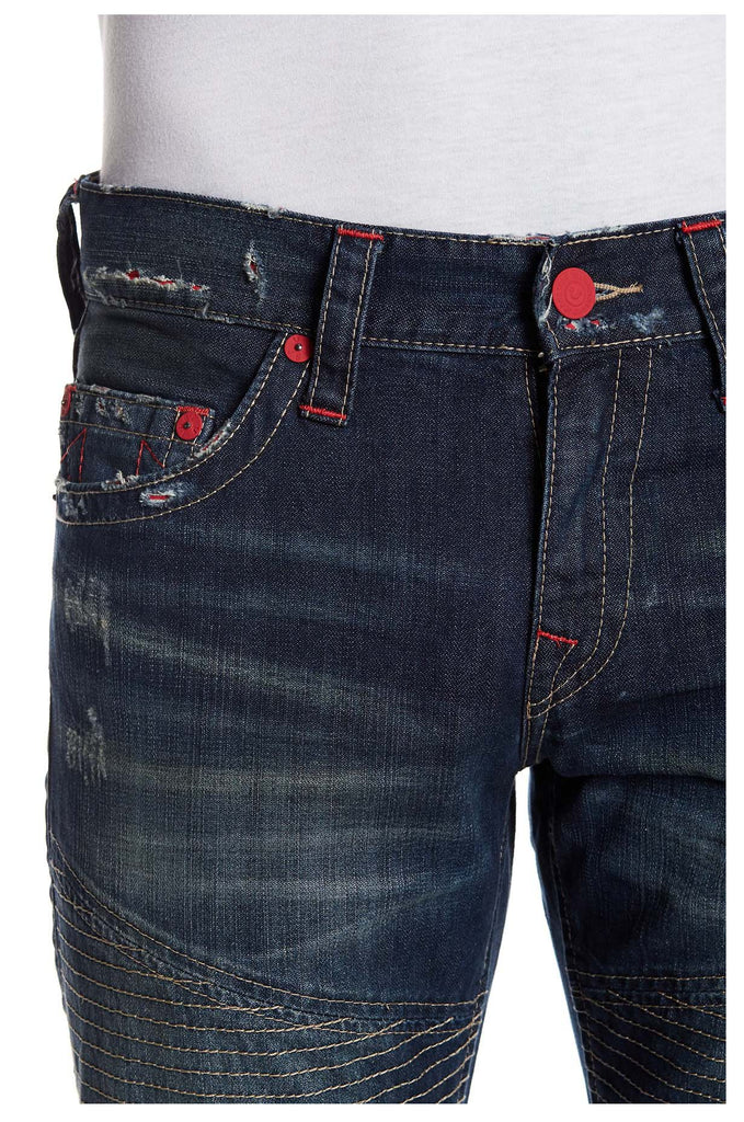 True Religion Men's Slim Moto Colored Seam Jeans