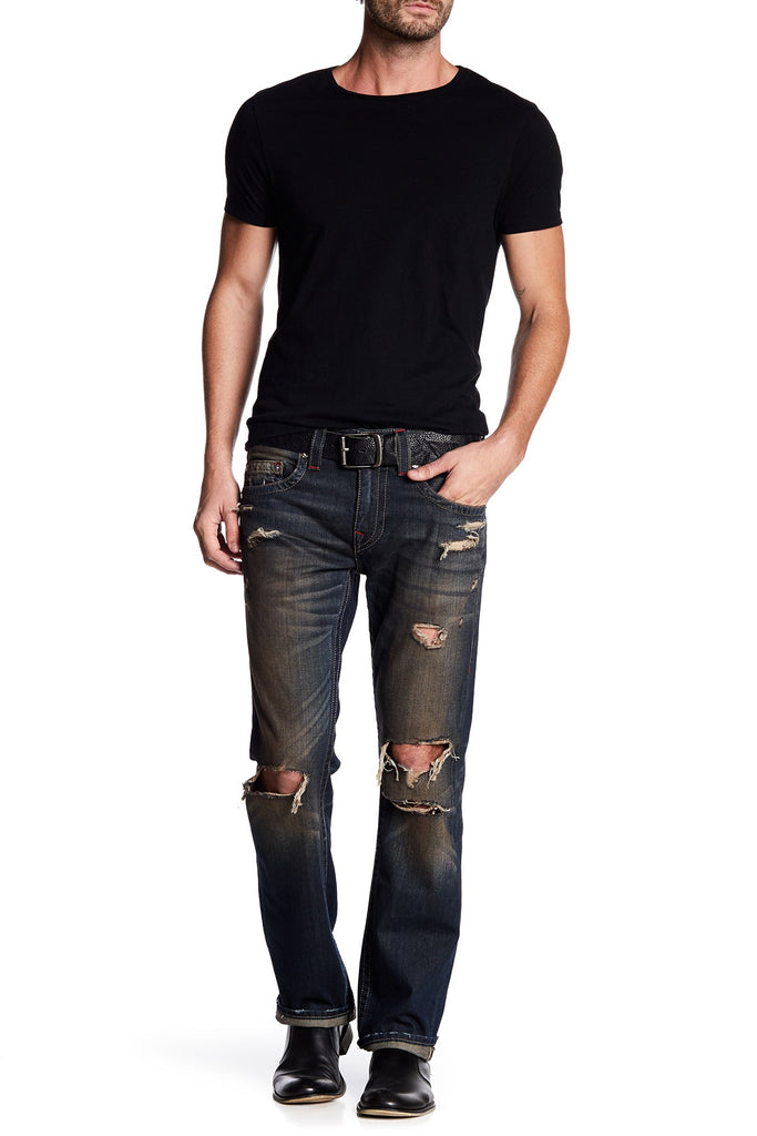 True Religion Men's Distressed Straight Runstitch Jeans