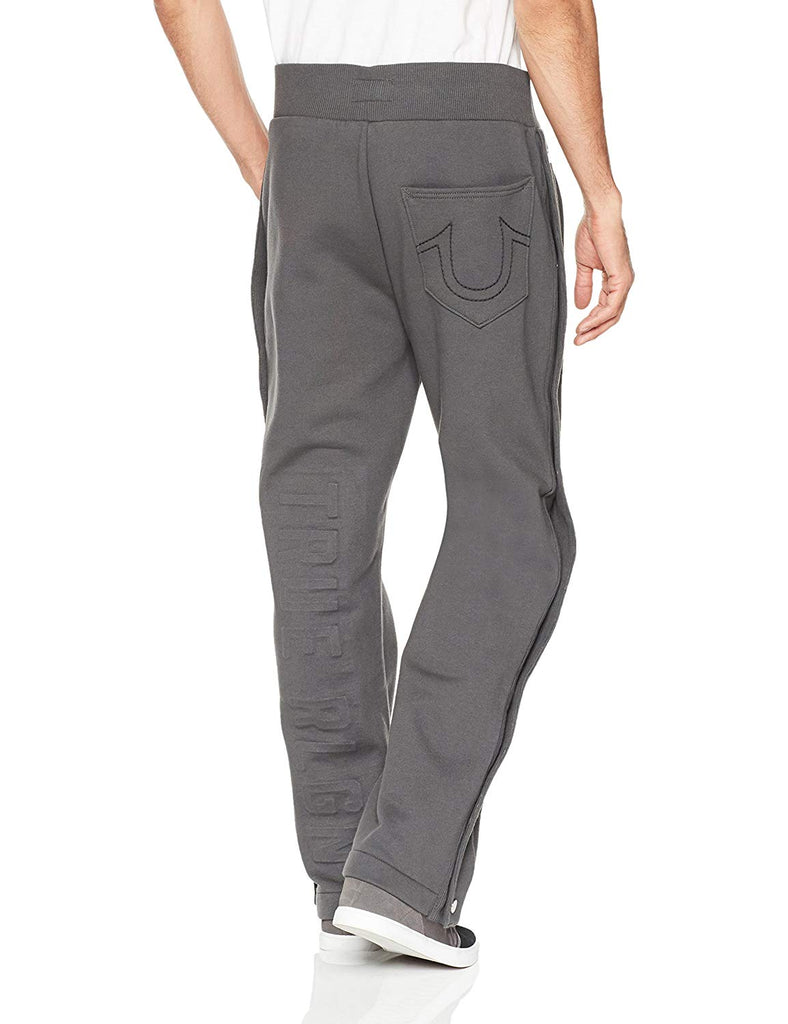 True Religion Men's Side Snap Embossed Logo Sweatpants-Charcoal
