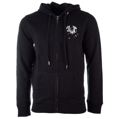 True Religion Men's Shattered Horseshoe Full Zip Hoodie-Black