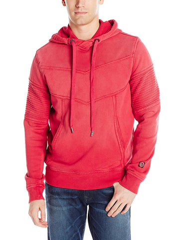 True Religion Men's Moto Pullover Hoodie-Ruby Red