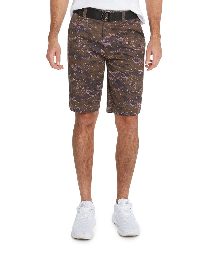9 Crowns Men's Flat Front Digital Camo Belted Shorts