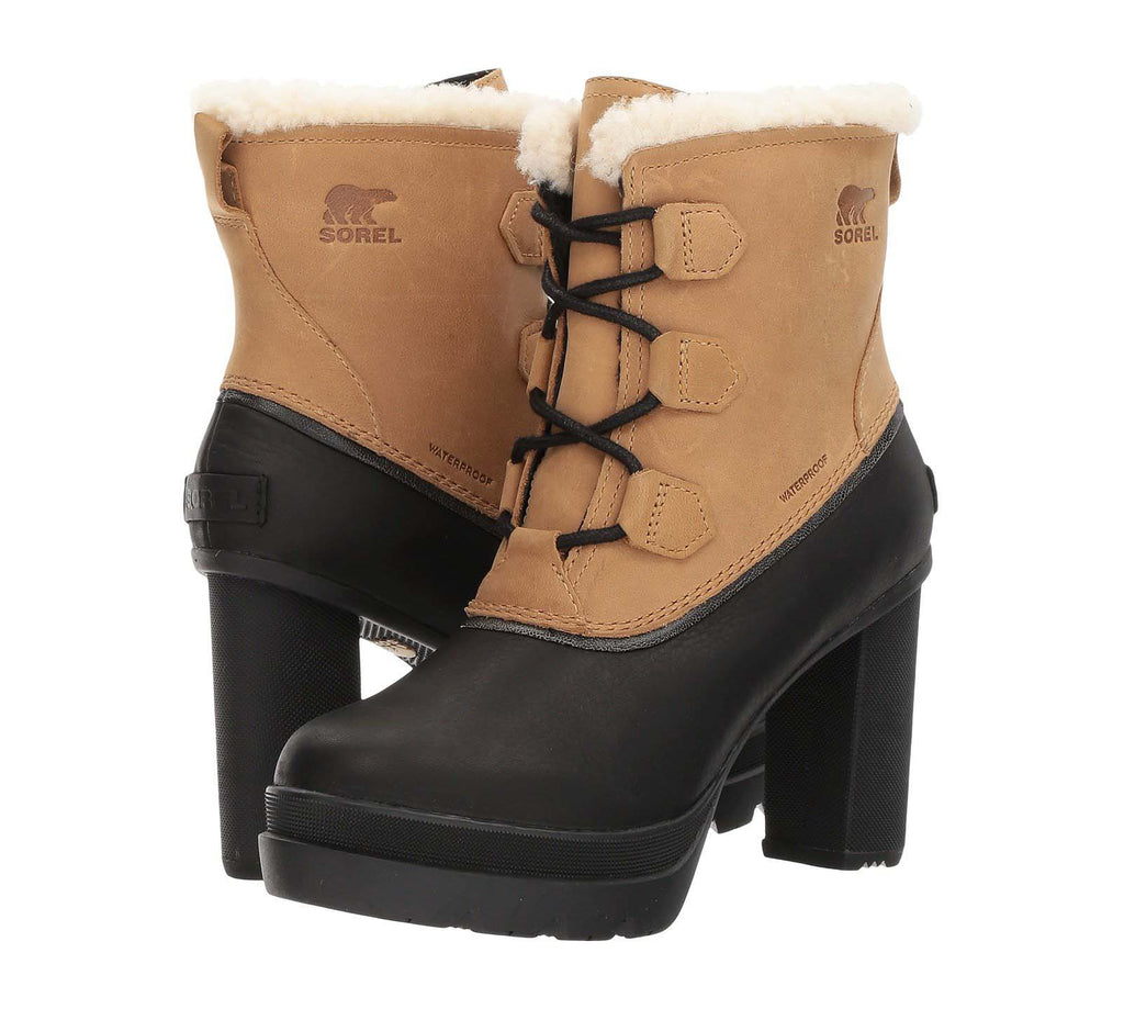 Sorel Women's Dacie Lace Waterproof Heeled Boots-Curry
