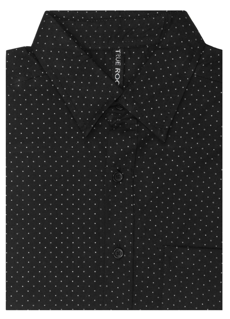 9 Crowns Men's TR Short Sleeve Patterned Button Down Shirt