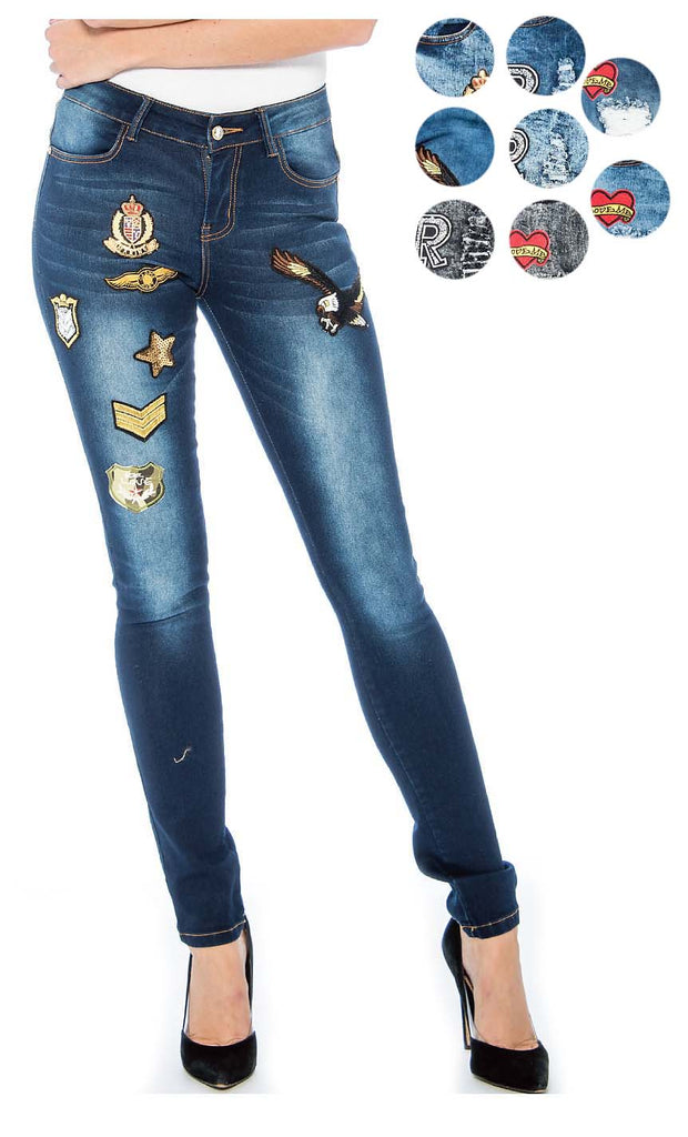 Rebel Love Juniors Mid Rise Patch Jean's By 9 Crowns