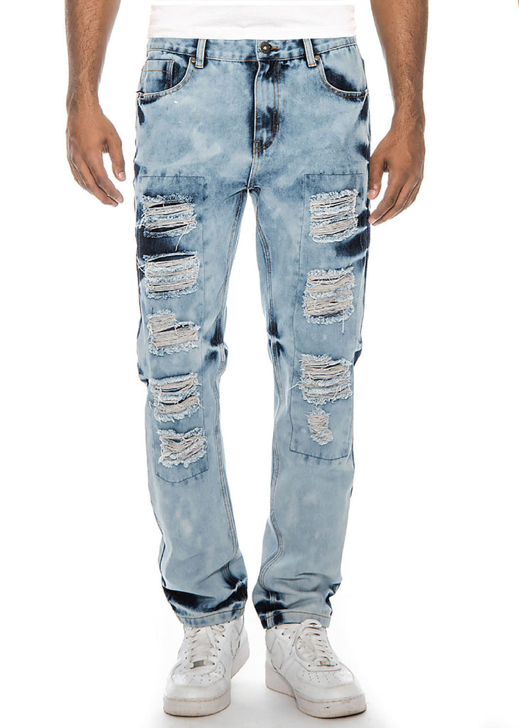 True Rock Men's Straight Fit Destroyed Ripped Denim Jeans