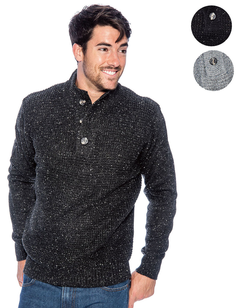 TR Men's Speckle Sweater with Placket by 9 Crowns Essentials