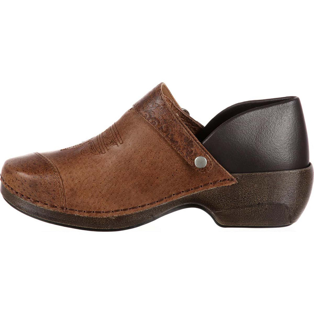 Rocky 4EurSole Leather Convertible Clogs-Brown Embossed