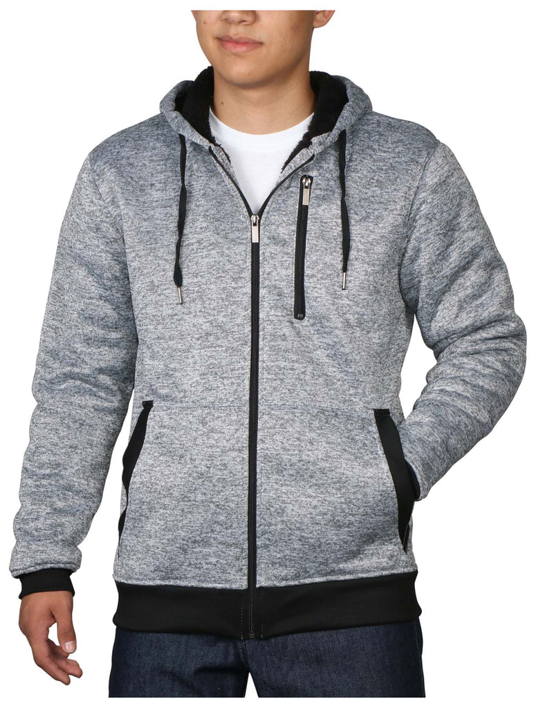9 Crowns Essentials Men's Sherpa-Lined Hoodie Jacket