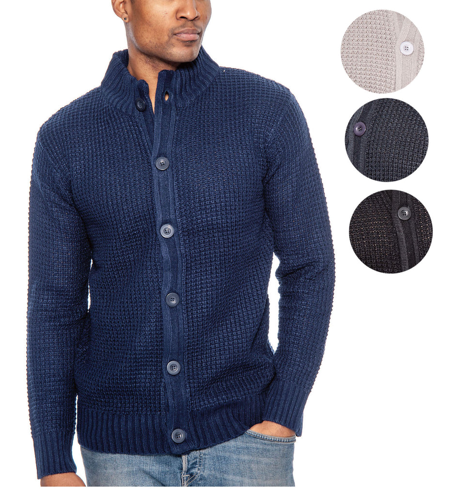 True Rock Men's Full Button Cardigan Sweater