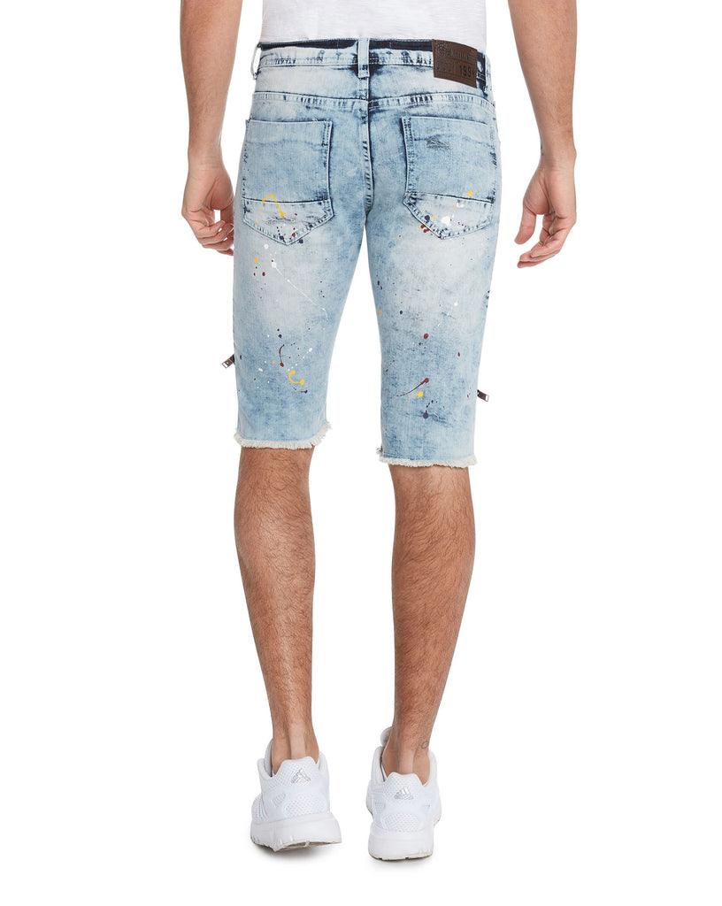 Bleecker & Mercer Moto Ripped and Repaired Denim Jeans Shorts - Slim Fit
