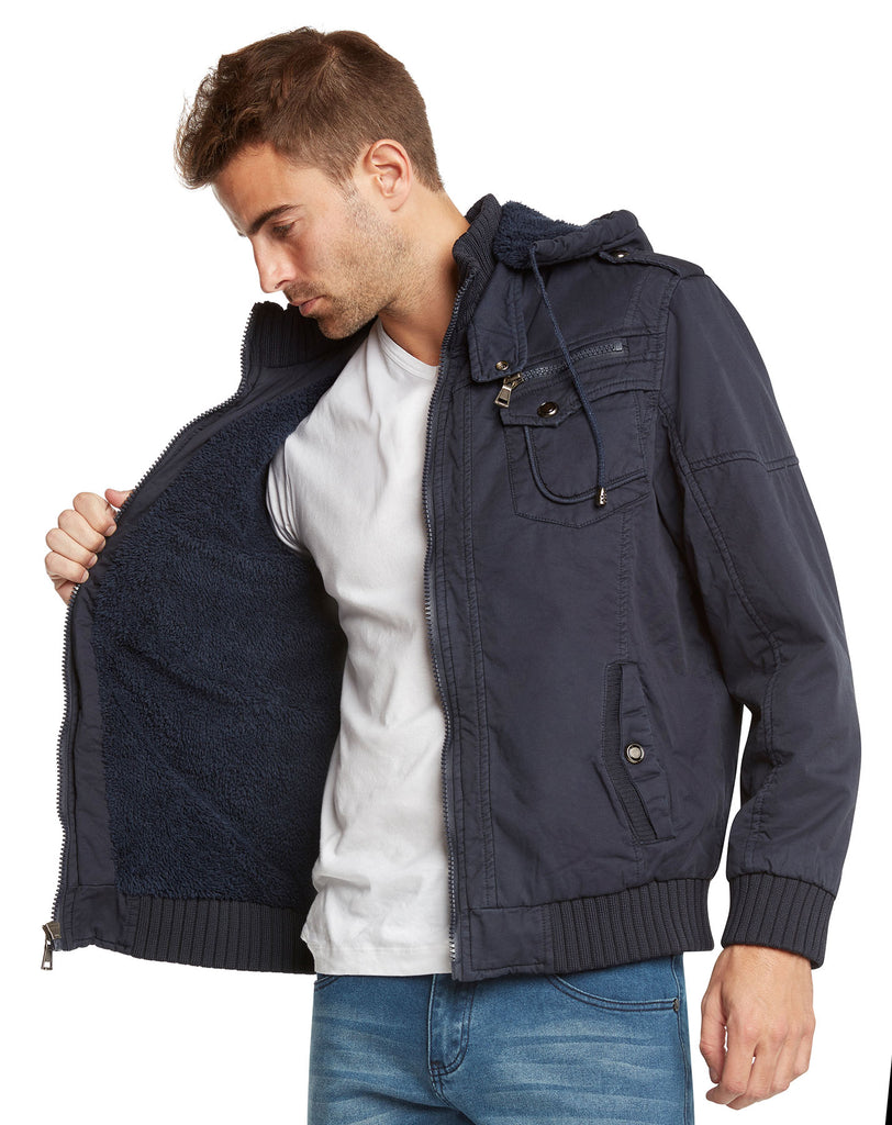 Maximos Men's Sherpa Lined Sahara Hooded Multi Pocket Bomber Jacket