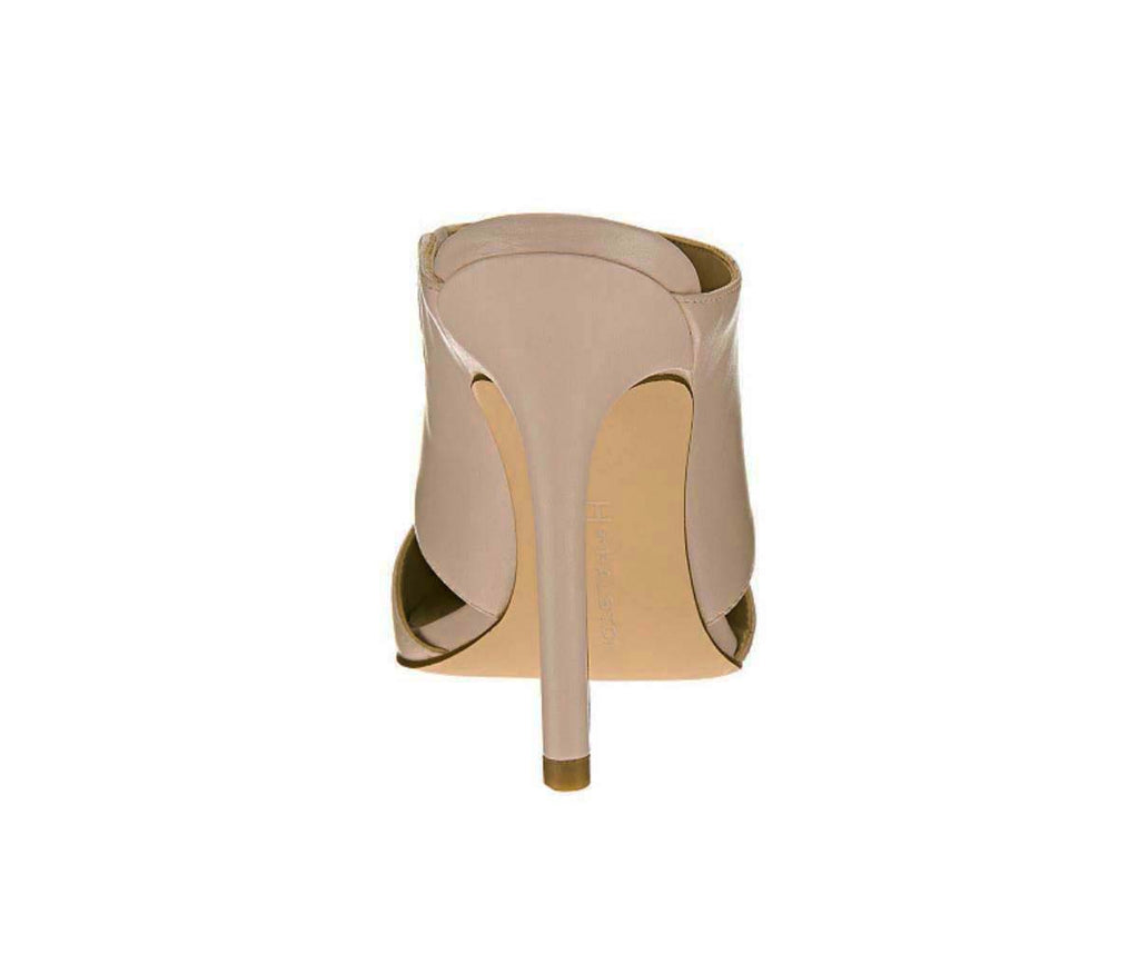 H by Halston Scarlett Leather Slip On Pointed Toe Heel-Sand