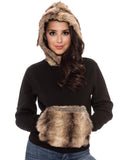 True Rock Jr Women's Faux Fur Hoodie-Black