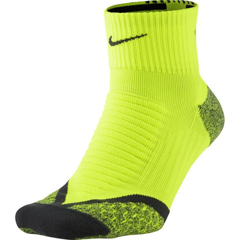 Nike Dri-Fit Elite Cushion Quarter Running Socks-Volt/Anthracite