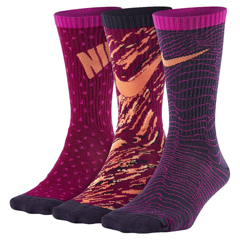 Nike Youth Dri-Fit Cushioned Crew Athletic Socks 3 Pair-Purple Multi-Color