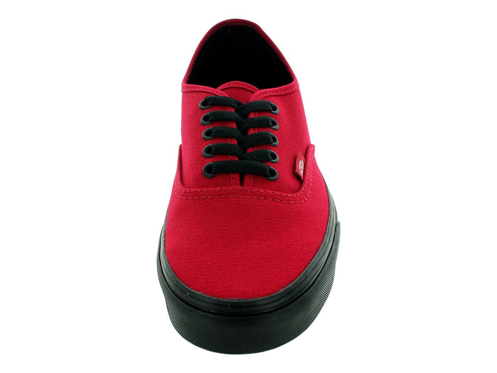 Vans Unisex Authentic Black Sole Skate Shoes-Jester Red