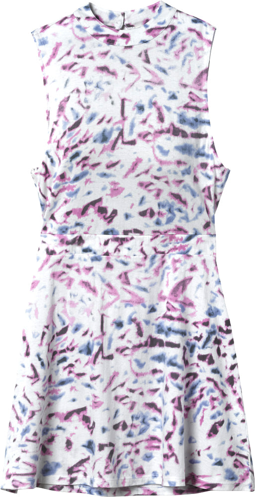 RVCA Juniors Early Brunch Cotton Skater Dress-Purple/Blue/White