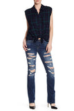 True Religion Women's Billie Destroyed Chain Straight Leg Jeans