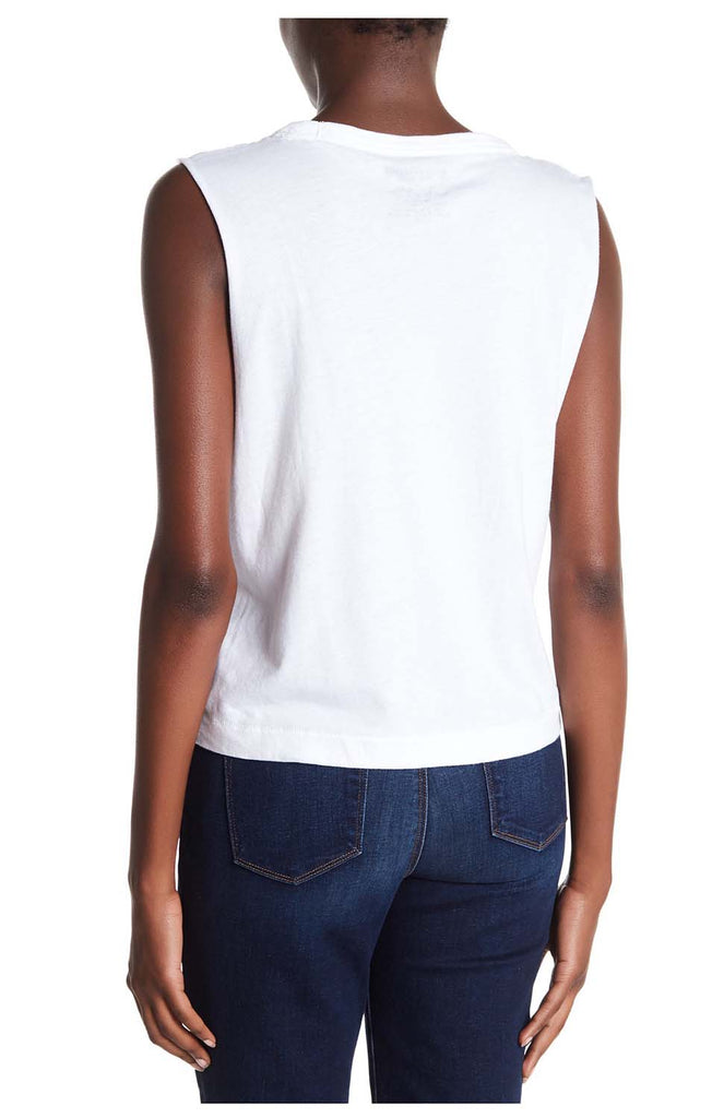 True Religion Women's So Cool Sleeveless Crop T-Shirt-White/Red/Blue