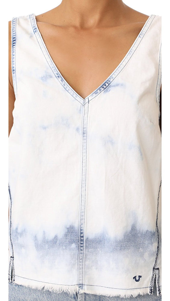 True Religion Women's Raw Hem Tank Top-Bleached Indigo