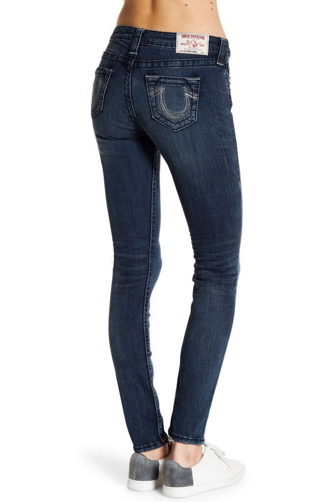 True Religion Women's Super Skinny Big T Gold Rainbow Jeans-Dusty Bridge
