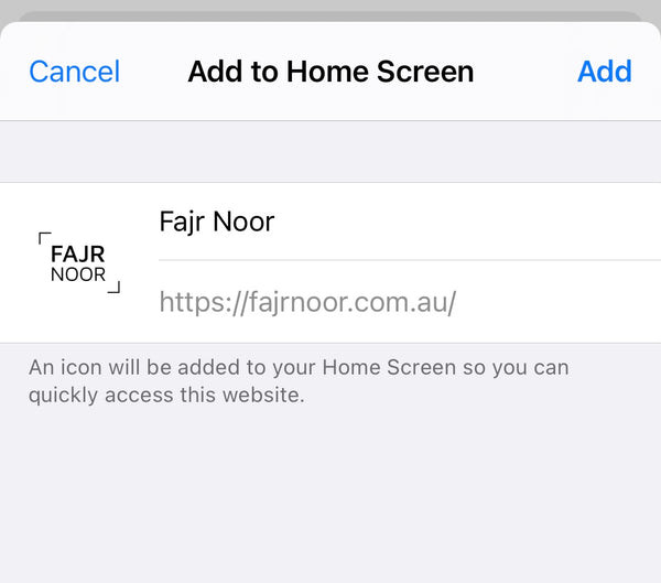 Adding website to iPhone Home Screen