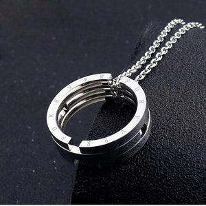 Titanium Steel Good Luck Couple Kiss Fish Foldable Ring Pendant Fashion Jewelry