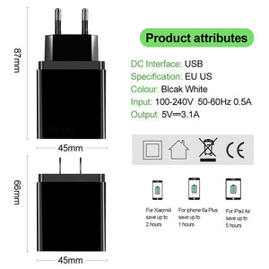 3A Digital Display Fast Charging Wall Phone Charger