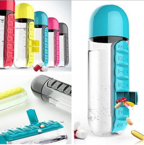Combination of pill box and water bottle