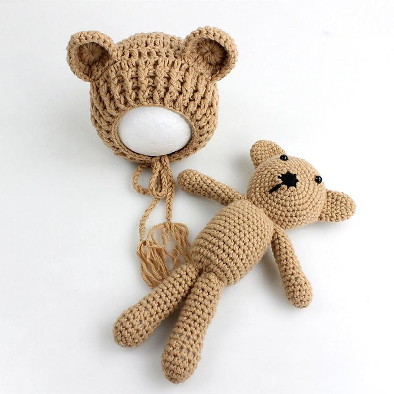 Newborn photography props-knitted teddy bear hat