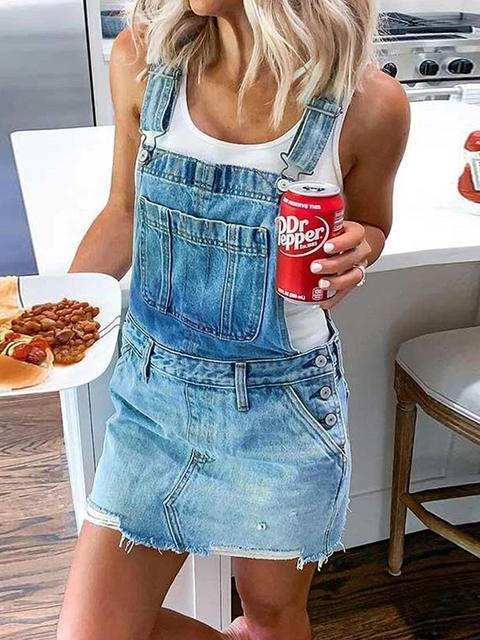 Denim Casual Overall Dress